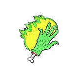 Comic cartoon gross flaming zombie hand Royalty Free Stock Image