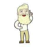 Comic cartoon happy bearded man with idea Stock Photos