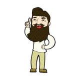 Comic cartoon happy bearded man with idea Royalty Free Stock Images