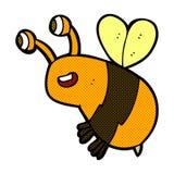 Comic cartoon happy bee Royalty Free Stock Images