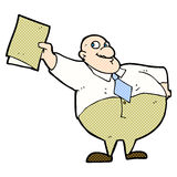 Comic cartoon happy boss with file Stock Photography