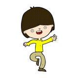 comic cartoon happy boy dancing stock illustration