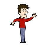 comic cartoon happy boy waving Royalty Free Stock Image