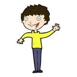 comic cartoon happy boy waving Stock Photos