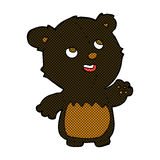 comic cartoon happy little teddy black bear Royalty Free Stock Images