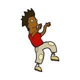 Comic cartoon happy man doing funny dance Royalty Free Stock Photography