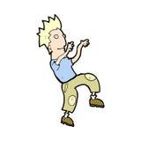Comic cartoon happy man doing funny dance Royalty Free Stock Photos