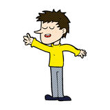 comic cartoon happy man reaching Stock Photos