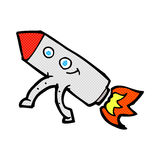 comic cartoon happy rocket Royalty Free Stock Photo