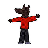 Comic cartoon happy wolf man Royalty Free Stock Images