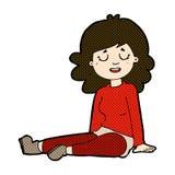 Comic cartoon happy woman sitting on floor Stock Photo