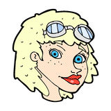 comic cartoon happy woman wearing aviator goggles Royalty Free Stock Photography