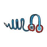 Comic cartoon headphones Stock Photography