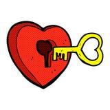 comic cartoon heart with key Royalty Free Stock Photo