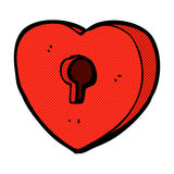 Comic cartoon heart with keyhole Stock Images