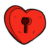 Comic cartoon heart with keyhole Royalty Free Stock Image