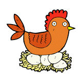 comic cartoon hen on eggs Stock Image