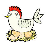 Comic cartoon hen on eggs Royalty Free Stock Images