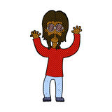 Comic cartoon hippie man waving arms Royalty Free Stock Photography