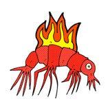 Comic cartoon hot shrimp Stock Photos