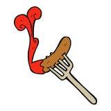 comic cartoon hotdog and ketchup Stock Photos