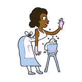 Comic cartoon housewife washing up Stock Images