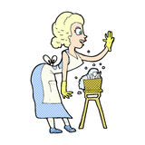 comic cartoon housewife washing up Stock Photo