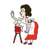 comic cartoon housewife washing up Royalty Free Stock Photography