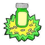 Comic cartoon jar of pills Stock Photography