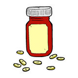 comic cartoon jar of pills Royalty Free Stock Image