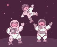 Comic cartoon kids astronauts landed on planet vector illustration. Simply editable image Royalty Free Stock Photo