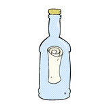 Comic cartoon letter in a bottle Royalty Free Stock Photo