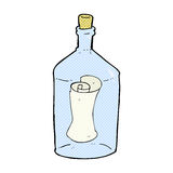 Comic cartoon letter in bottle Royalty Free Stock Image
