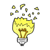 Comic cartoon light bulb exploding Stock Photo