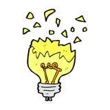 Comic cartoon light bulb exploding. Retro comic book style cartoon light bulb exploding Stock Photo
