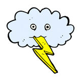 Comic cartoon lightning bolt and cloud Stock Photos