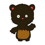 Comic cartoon little black bear waving Stock Photography
