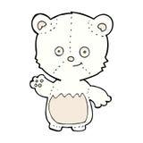 comic cartoon little polar bear waving Stock Photography