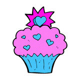 Comic cartoon love heart cupcake Stock Photos