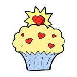 Comic cartoon love heart cupcake Royalty Free Stock Photo
