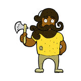 comic cartoon lumberjack with axe Stock Photos