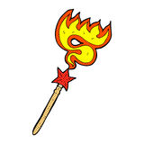 comic cartoon magic wand casting fire spell Stock Photography