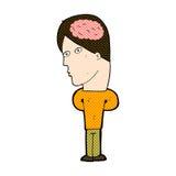 comic cartoon man with big brain Stock Photos