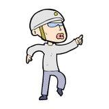 comic cartoon man in bike helmet pointing Royalty Free Stock Photography