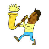 Comic cartoon man blowing saxophone Stock Photos