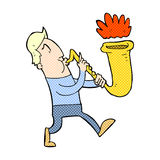 Comic cartoon man blowing saxophone Stock Photography