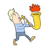 comic cartoon man blowing saxophone Stock Photography