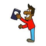 Comic cartoon man with book Stock Photos