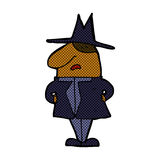 Comic cartoon man in coat and hat Stock Images