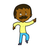 Comic cartoon man with mustache pointing Royalty Free Stock Image